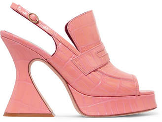Sies Marjan - Ellie Croc-effect Leather Platform Slingback Sandals - Pink
