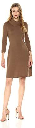 Nine West Women's 3/4 Sleeve a-Line Dress with Ribbed Cowl and Trims
