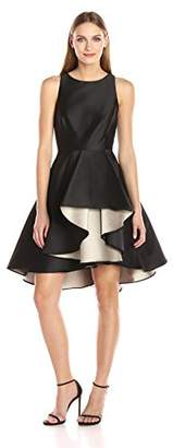 Halston Women's Cap Sleeve Color Blocked Dress with Dramatic Skirt