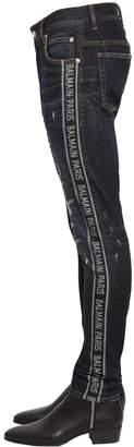 Balmain 15cm Slim Logo Stripe Cotton Denim Jeans