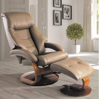Mandal OSLO COLLECTION Oslo Collection by Mac Motion Recliner and Ottoman in Sand Top Grain Leather