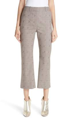 Altuzarra Adler Floral Plaid Crop Flare Pants