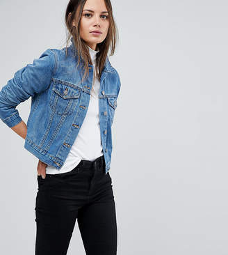 Asos Tall DESIGN Tall denim shrunken jacket in midwash blue