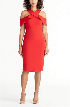 Rachel Roy Cold Shoulder Ruffle Halter Dress