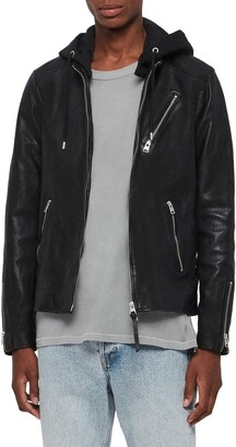 AllSaints Harwood Hooded Leather Jacket