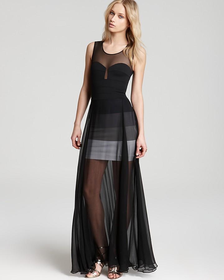 BCBGMAXAZRIA Gown - Mesh Overlay