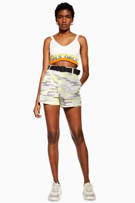 Topshop Belted Camouflage Shorts