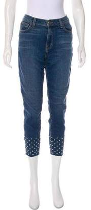 L'Agence Mid-Rise Studded Jeans