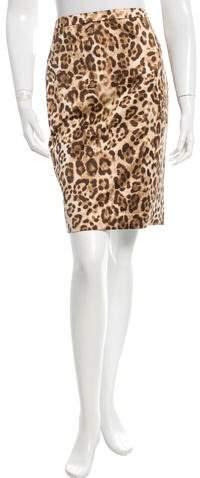 Michael Kors Leopard Print Knee-Length Skirt