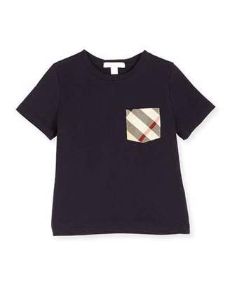 Burberry Callum Check-Pocket Jersey Tee, True Navy, Size 4-14