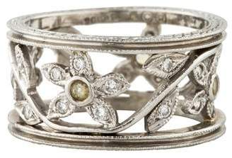Cathy Waterman Platinum Diamond & Sapphire Flower Band