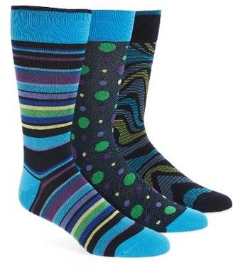 Men's Bugatchi Assorted 3-Pack Mercerized Cotton Blend Socks $49 thestylecure.com