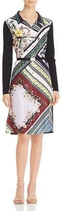 Tory Burch Merino Wool & Silk Mixed-Media Shirt Dress