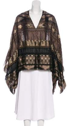 Ralph Lauren Purple Label Fringe-Trimmed V-Neck Poncho