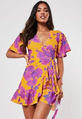 Missguided Pink Floral Wrap Over Mini Dress
