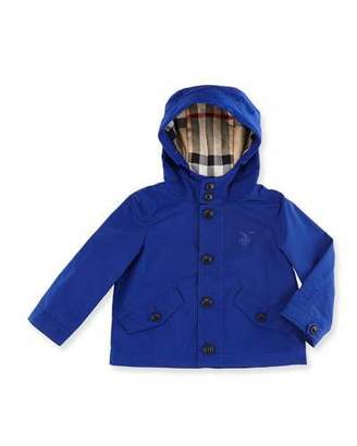 Burberry Arlie Hooded Rain Jacket, Bright Lapis, Size 6M-3 $235 thestylecure.com