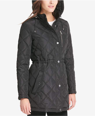 DKNY Quilted Faux-Leather-Trim Coat