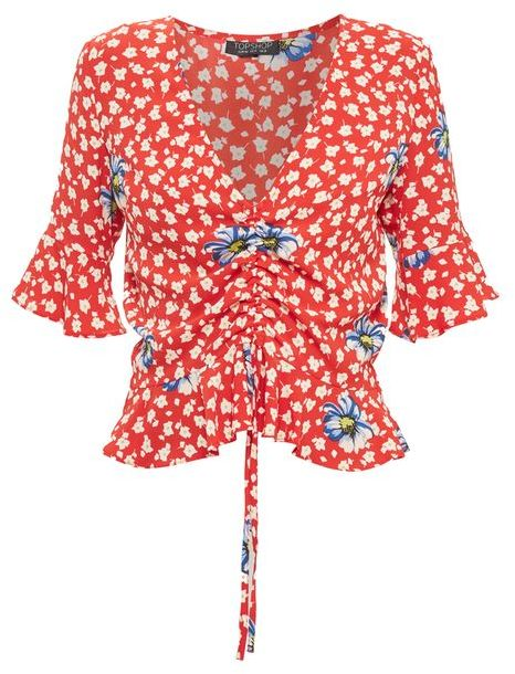 TopshopTopshop Red floral ruched front top