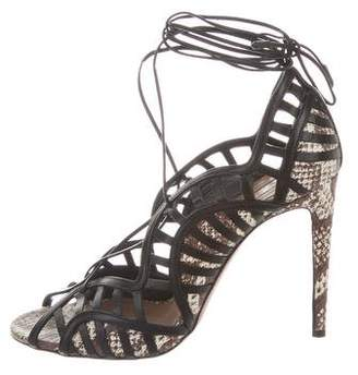 Aquazzura Embossed Wrap-Around Sandals