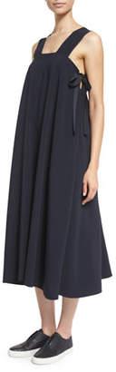 Helmut Lang Sleeveless Side-Tie Voile Midi Dress, Navy