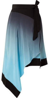Thierry Mugler Asymmetric Ombré Silk Crepe De Chine Skirt - Light blue