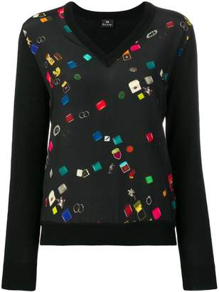 Paul Smith v-neck panelled blouse