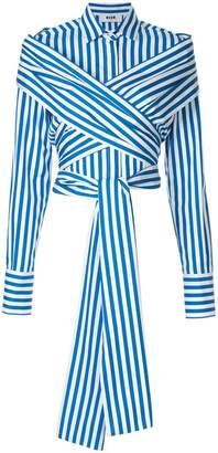 MSGM crossover striped shirt