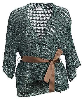 Brunello Cucinelli Women's Paillette Knit Cardigan with Grosgrain Belt