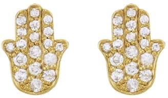 Jennifer Meyer Full Pavé Hamsa Stud Earrings - Yellow Gold