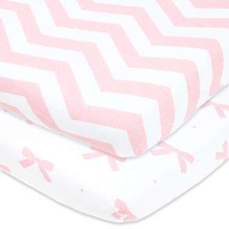 Graco Cuddly Cubs Pack n Play Sheets | 2 Pack Playard Sheet for Baby Girl and Boy | 100% Jersey Cotton Unisex Mini Portable Crib Sheets | Bows and Chevron in Grey and Pink | Fits