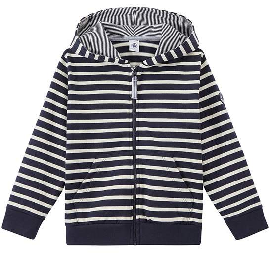Boys Zippered Striped Sweatshirt
