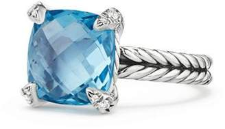 David Yurman Châtelaine® Ring with Blue Topaz and Diamonds