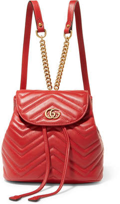 Gucci Gg Marmont Quilted Leather Backpack - Red