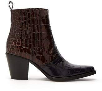 Ganni - Callie Crocodile Effect Patent Leather Ankle Boots - Womens - Burgundy Navy