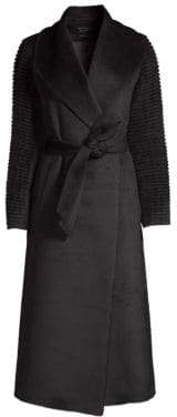 Sentaler Long Rib-Sleeve Alpaca& Wool Wrap Coat