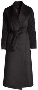 Sentaler Long Rib-Sleeve Wool Wrap Coat