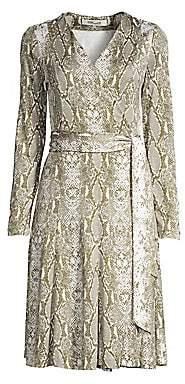 8b1e58f6087b Diane von Furstenberg Women s Elowen Silk Python Print Wrap Dress