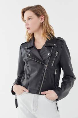 Urban Outfitters Faux Leather Cropped Moto Jacket