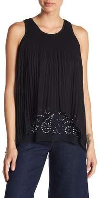 Desigual Embroidered Pleat Tank Top