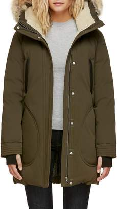 Soia & Kyo Genuine Coyote Fur Trim Down Parka with Fleece Lining