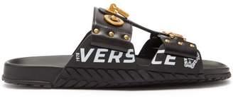 Versace Medusa Leather Sandals - Mens - Black Gold