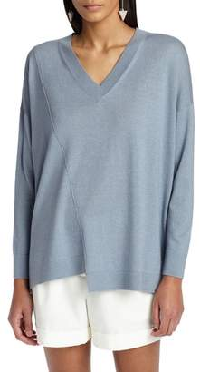 Lafayette 148 New York Asymmetrical Cashmere & Silk Blend Sweater