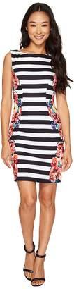 Tahari ASL Petite Stripes and Florals Sheath Dress Women's Dress