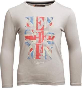 Ben Sherman Boys Union Jack Text T-Shirt Putty Grey