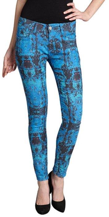Romeo & Juliet Couture celeste blue printed stretch denim