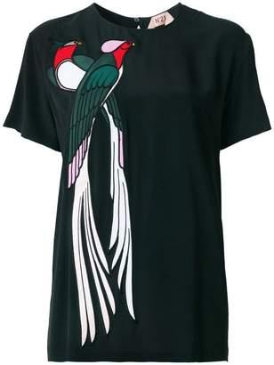 No.21 bird appliqué blouse