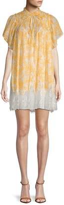 Free People Women's Marigold Lace-Hem Cotton Shift Dress