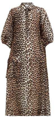 Ganni Cedar Leopard Print Silk Linen Blend Shirt Dress - Womens - Leopard