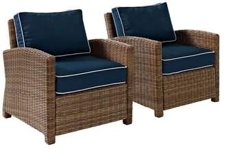 Crosley Bradenton 2-Piece Outdoor Wicker Seating Set With Navy Cushions