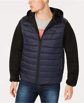GUESS Men Reversible Hooded Bomber Jacket with Quilted Faux Vest